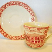 SALE Commemorate Old English Staffordshire Ware ~Red Transferware Cup with the Jefferson Davis