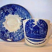 SALE Commemorate Old English Staffordshire Ware ~Blue Transferware Cup with the Washington's .