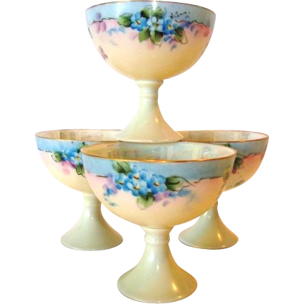 "Set of (4) Awesome Austrian Porcelain Punch Cups ~ Hand Painted with Blue Flowers ~ Artist Signed ""Kellery"" ~ Oscar & edger Gutherz Austria 1899-1916"