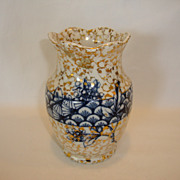 SALE Beautiful Earthenware Brush Cup / Vase~ Decorated with Blue Flowers & Shell Designs ~ Gra