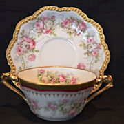 SALE Elegant Limoges Bouillon Cup and Saucer ~ Hand Decorated with Pink and white roses ~ Geor