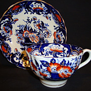 SALE Brightly Imari / Gaudy Welsh Colored English Cup and Saucer ~ England 1895
