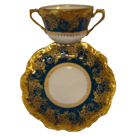 Exquisite Bouillon Cup & Saucer ~  Limoges Porcelain ~ Double Handled  ~Teal & Gold Embellished ~ Coiffe Limoges France 1876 -1890