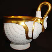 SALE Astonishing Bisque Swan Cup ~ Gold Gilt ~ C. Tielsch & Co. Germany - Ca 1875 - Ca 1918