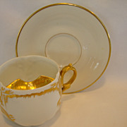 SALE Fantastic Limoges Porcelain Mustache Cup with Saucer~ White with Gold Accents ~ Martial R