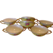 Six ( 6 ) EXQUISITE Bavarian Double Handled Bouillon Cups ~ Hand Painted with Pink & Yellow Roses ~ Favorite Bavaria ~ Early 1900�s