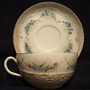 SALE Delicate Limoges Porcelain Cup And Saucer Over 120 YRS OLD~ Basket Weave and Blue Forget