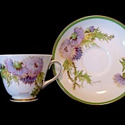 SALE Beautiful English Bone China Cup and Saucer Hand Painted with Purple and Yellow Thistles