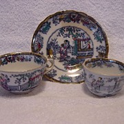 SALE Nice English Polychrome Chinoiserie 2 Cups & 1 Free Saucer ~  �Chinese Ching� Pattern ~ .