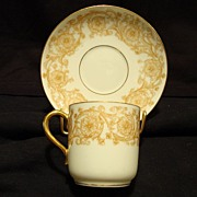 SALE Awesome LIMOGES Porcelain Demitasse Cup and Saucer ~ Golden Yellow and White Flowers and
