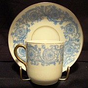 SALE Awesome LIMOGES Porcelain Demitasse Cup and Saucer ~ Blue and White Flowers and Vines ~ D