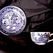 SALE Buffalo Pottery Blue Willow Pattern Cup and Saucer- 1911