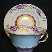 SALE Beautiful Bavarian  Porcelain Demitasse Cup and Saucer ~ Hand Painted with Colorful Desig