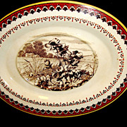 SALE Striking English Transferware Oval Dish with Poppies and Farm House Scene ~ Mintons Staff