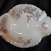 SALE Beautifully Shaped Rosenthal Dish ~ Dainty Pink with Yellow Flowers � Bavaria -1896-1907
