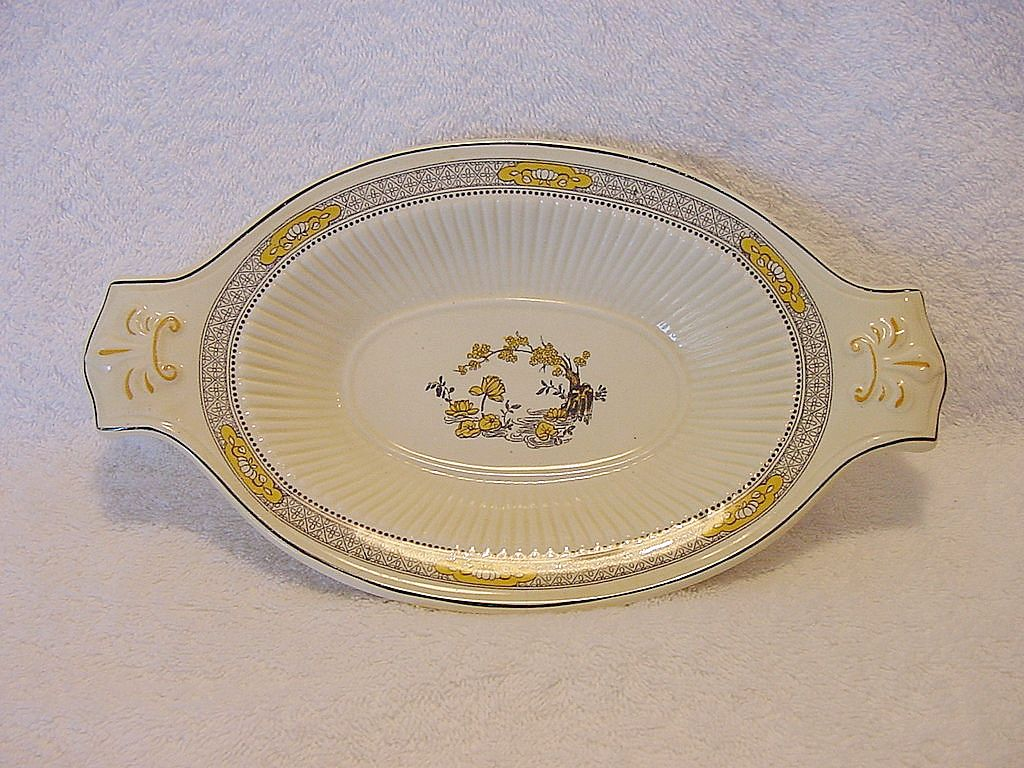 Nice Old English Two Handled Dish ~ Decorated with Yellow Flowers ~ &quot;The Meaford&quot; Pattern ~ RIDGWAYS (Staffordshire, UK) - ca 1912 - 1920