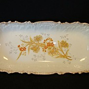 SALE Beautiful Limoges Porcelain Relish Tray / Plate Hand Painted with Orange and Gold Flowers