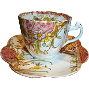 SALE Outstanding English Pre Shelley Porcelain ~ Cup, Saucer Plate ~ Mauve Aesthetic Pattern ~