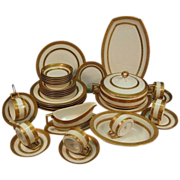 SALE Elegant and Impressive Gold Encrusted / Embossed Bavarian 35 Piece Porcelain Dinner Set ~