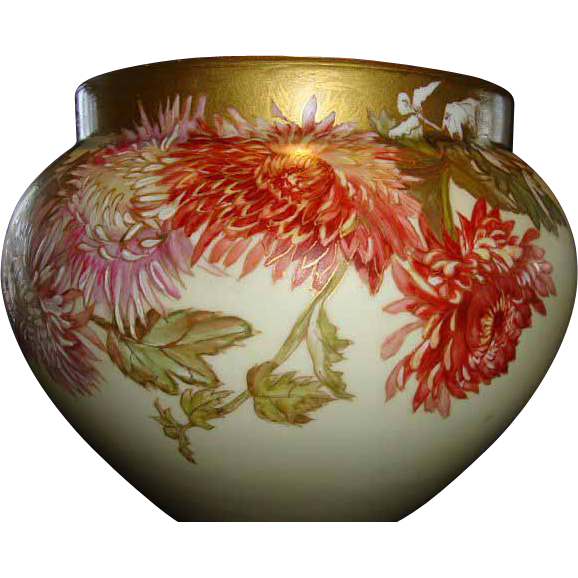 "Jardiniere Delinieres Limoges 36"" C. ~ Hand Painted Chrysanthemums ~  D&C France 1890-1900"