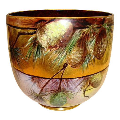 AMAZING Limoges Jardiniere~ Large 9&quot; High and 31&quot; Circumference. LOTS of GOLD! Hand Painted Pinecones ~ Signed Mary Bowen 1917 &ndash; William Guerin 1900-1932