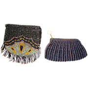 SALE Two (2) Very Nice Beaded Purses with iridescent beads ~ Mid 1920s