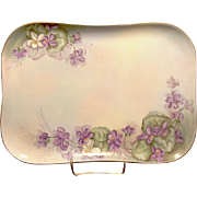 SALE Exceptional Limoges Porcelain Dresser Tray ~ Hand Painted with Gorgeous Purple & White Vi