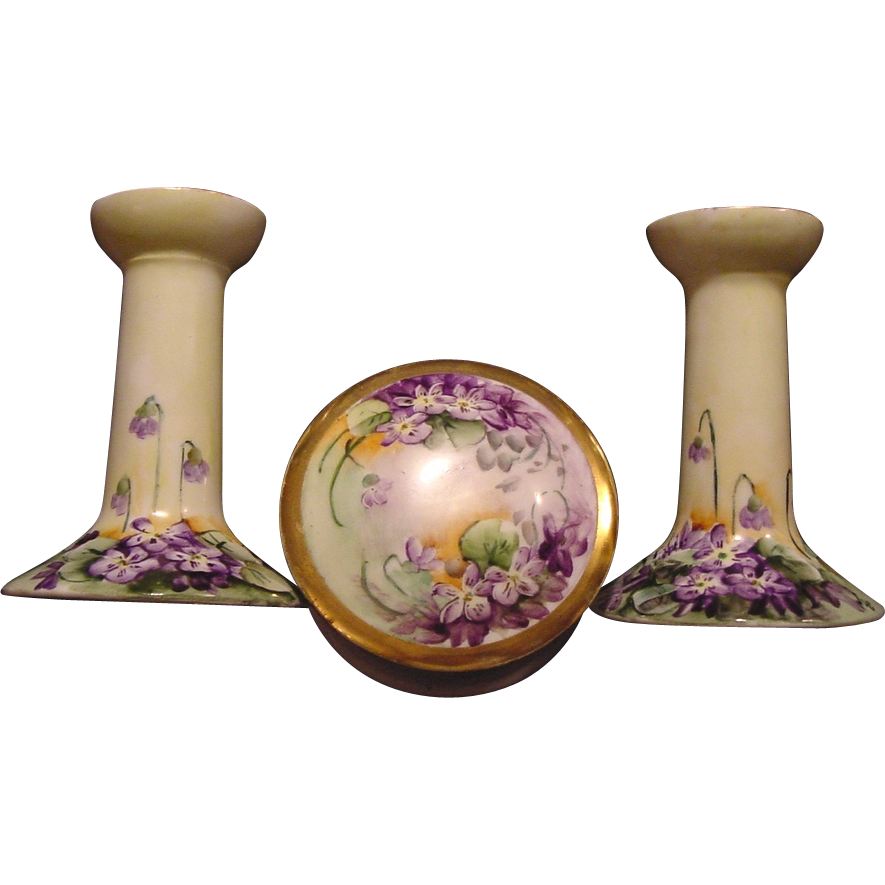 AWESOME Austrian Porcelain Candlesticks and Dresser Box Set~ Hand Painted with Vibrant Purple Violets ~ Artist Initialed ~ OE &G Oscar and Edgar Gutherz, Altrohlau, Austria 1899-1918