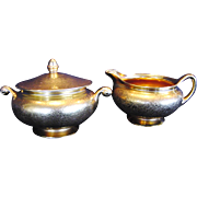 SALE All Over Gold Creamer and Sugar Set ~ Floral Decoration ~ Wheeling Decorating Co ca 1920�