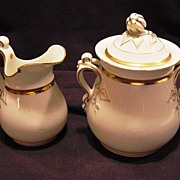 SALE OUTSTANDING Limoges Porcelain 1lb Sugar & Creamer ~ White with Gold ~ Haviland & Co 1888-