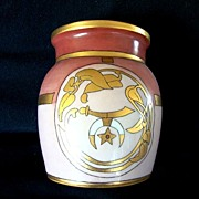 SALE Nice Bavarian Porcelain Jar ~ Shriners Logo -- The Scimitar, Crescent Moon and Star ~ Art