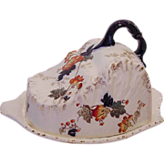 SALE Splendid Semi-Porcelain English Cheese Keeper ~ Multi-Colored Transfer of Flowers ~ ...