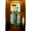 Remarkable Limoges Porcelain Framed  Plaque 14''H x 7 1/2W ~ Hand Painted Beautiful Woman in flowing gowns ~ Artist Signed~ Tressemann & Vogt  1892-1907