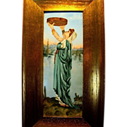 SALE Remarkable Limoges Porcelain Framed  Plaque 14''H x 7 1/2W ~ Hand Painted Beautiful Woma