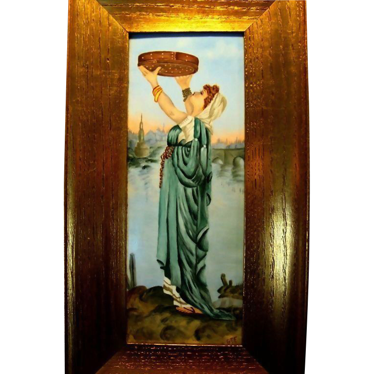 Remarkable Limoges Porcelain Framed  Plaque 14''H x 7 1/2&quot;W ~ Hand Painted Beautiful Woman in flowing gowns ~ Artist Signed~ Tressemann & Vogt  1892-1907