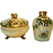 Delightful Limoges Porcelain Dresser or Powder Jar with Matching Vase � Hand Painted with Beautiful Daisy Flowers � Signed by � Mehle� � GDA Limoges 1900-1941