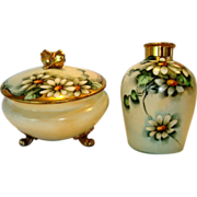 SALE Delightful Limoges Porcelain Dresser or Powder Jar with Matching Vase � Hand Painted with