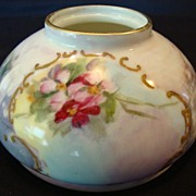 SALE Unique Limoges Porcelain Inkwell ~ Hand Painted with Pink Flowers and Luster ~ Gerard, Du