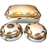 SALE Unique Limoges / Nippon 3 Piece Dresser Set  ~ Gold Wheat on White ~ Gerard ...