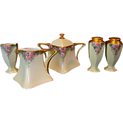 SALE Bavarian Porcelain Creamer, Sugar, Salt, Pepper and Toothpick Holder ~ Hand Painted with