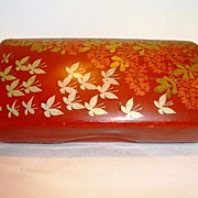 SALE Beautiful Red Lacquer Paper Mache Hand Painted with Silver Butterflies and Golden Foliage