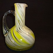 SALE Nice Art Glass Ewer ~ Swirled Yellow, White and Clear Design