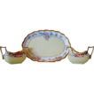 Beautiful Bavarian Porcelain Creamer & Sugar Set with Matching Limoges Tray ~ Pink Roses ~ Zeh Scherzer Bavaria AND  Limoges France
