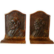 "SALE Nice Vintage Set of Bronze Bookends ~ Henry W. Longfellow ~ K & O Co."" (Kronheim & O"