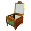 Wonderful Square Glass Jewelry Casket / Box with Beveled Glass ~ Ornate Ormolu Frame ~ 1920's