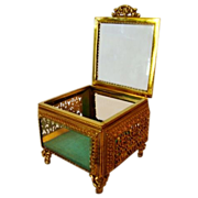SALE Wonderful Square Glass Jewelry Casket / Box with Beveled Glass ~ Ornate Ormolu Frame ~ ..