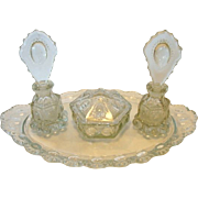 SALE Elegant 7 Piece Crystal Beaded Medallion Vanity Set attributed to LE Smith Glass Co CA 19