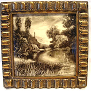 "SALE Amazing English Hand Painted 8"" Tile in Gesso Frame ~ Lake & Thatched Roof House ~"