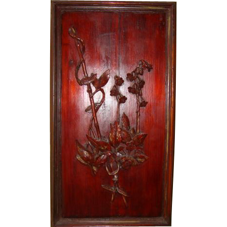 Astonishing & OLD Asian Panel with Oriental Motif ~ Raised Bamboo, Leaves & Flowers.