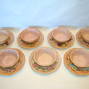 SALE 7 Sets available ~ Adorable Limoges Porcelain Ramekins and Saucers ~ Hand Painted Pink wi